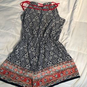 Navy and white pattern romper